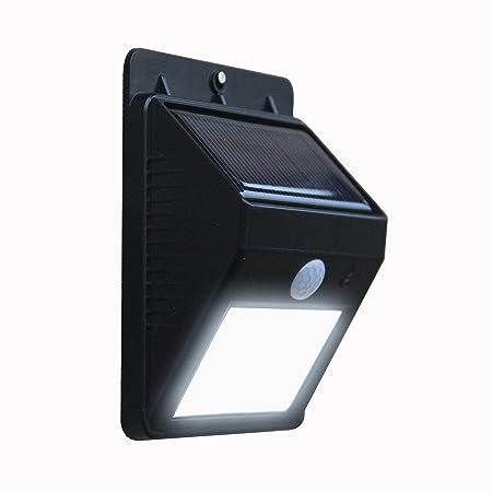 Hanumex® LED Solar Panel Power Light Wall Lamp Motion Sensor Luminaria Energy 20 Led Waterproof Sunlight for Garden Outdoor Stairs (Color-Black-Single)