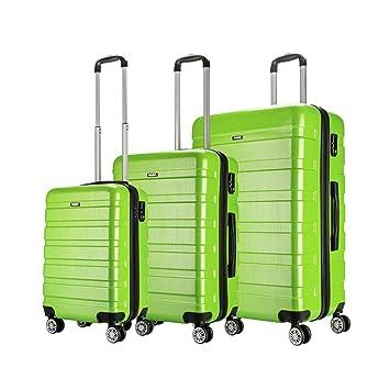 AMASAVA-Set of Tres Maletas Juego de Maletas Rígidas,Candado TSA, ABS+PC,4 Ruedas multidireccional, Verde: Amazon.es: Equipaje