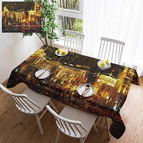 HOOMORE Simple Color Cotton Linen Tablecloth,Washable, Abstract Art of City with Colorful Light Decorating Restaurant - Kitchen School Coffee Shop Rectangular 35×35in