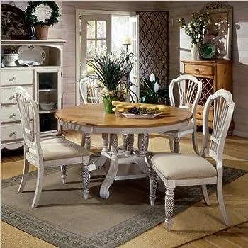 7 piece round dining set six chair hillsdale furniture 7piece round dining set wside chairs antique white amazoncom
