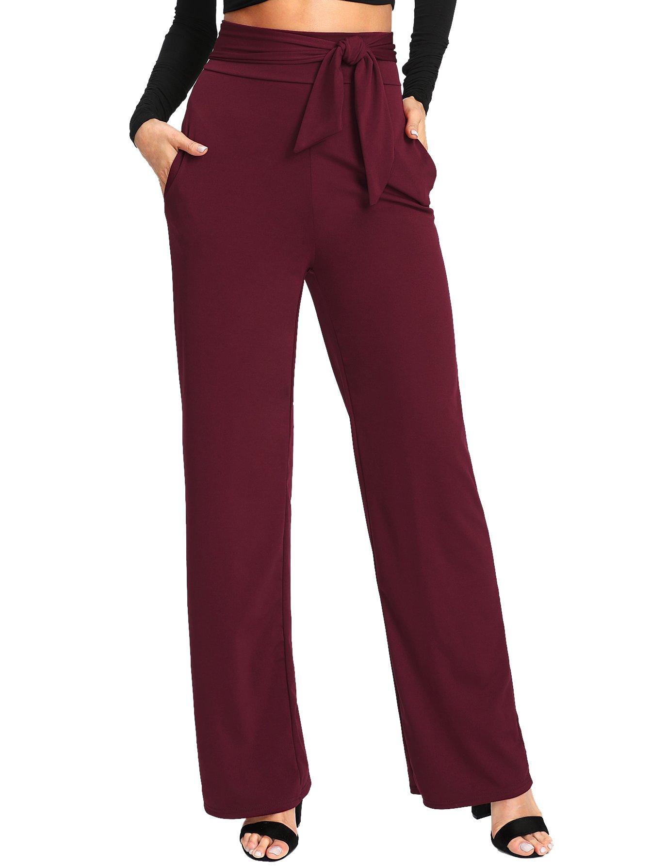 SheIn Women's Casual Stretchy High Waist Wide Leg Dress Pants Tie Burgundy Large