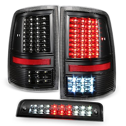 For 2009-2018 Dodge Ram 1500 | 10-18 Ram 2500 3500 Full LED Black Taillights Set + LED 3Rd Brake Lamp