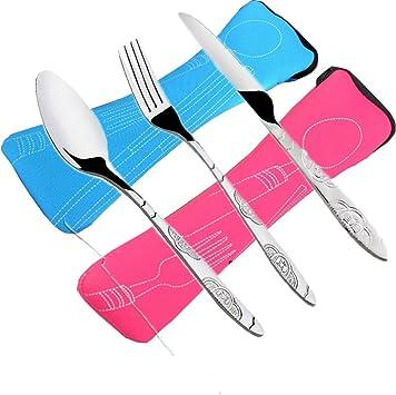FLYING_WE 6 PCS Juegos de Cubiertos Cuchillos, Tenedores, cucharas, Paquete de 2 vajillas de Acero Inoxidable Ligero vajilla con maletín Caminando ...