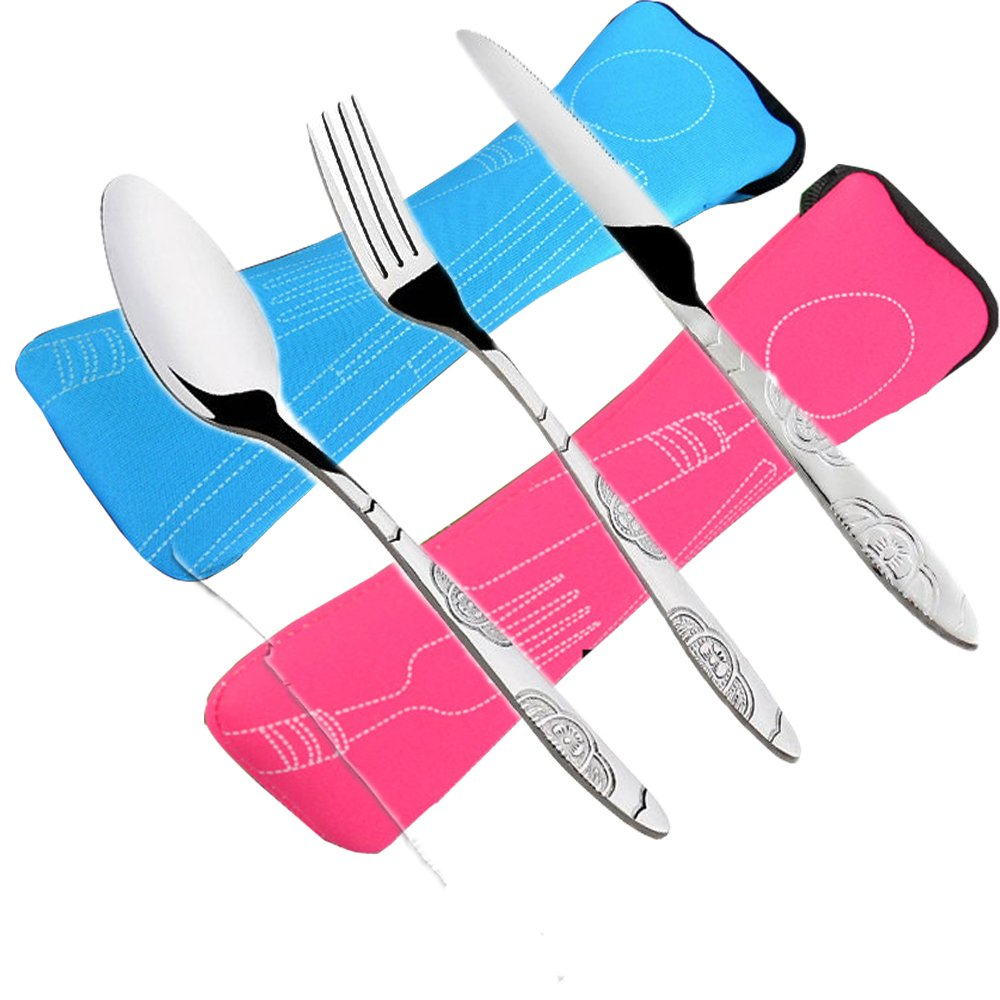 6 PCS Flatware Sets Knifes, Forks, Spoons, 2 Pack Lightweight Stainless Steel Tableware Dinnerware with Carrying Case Perfect for Traveling Camping Picnic Working Hiking Home. LiPang