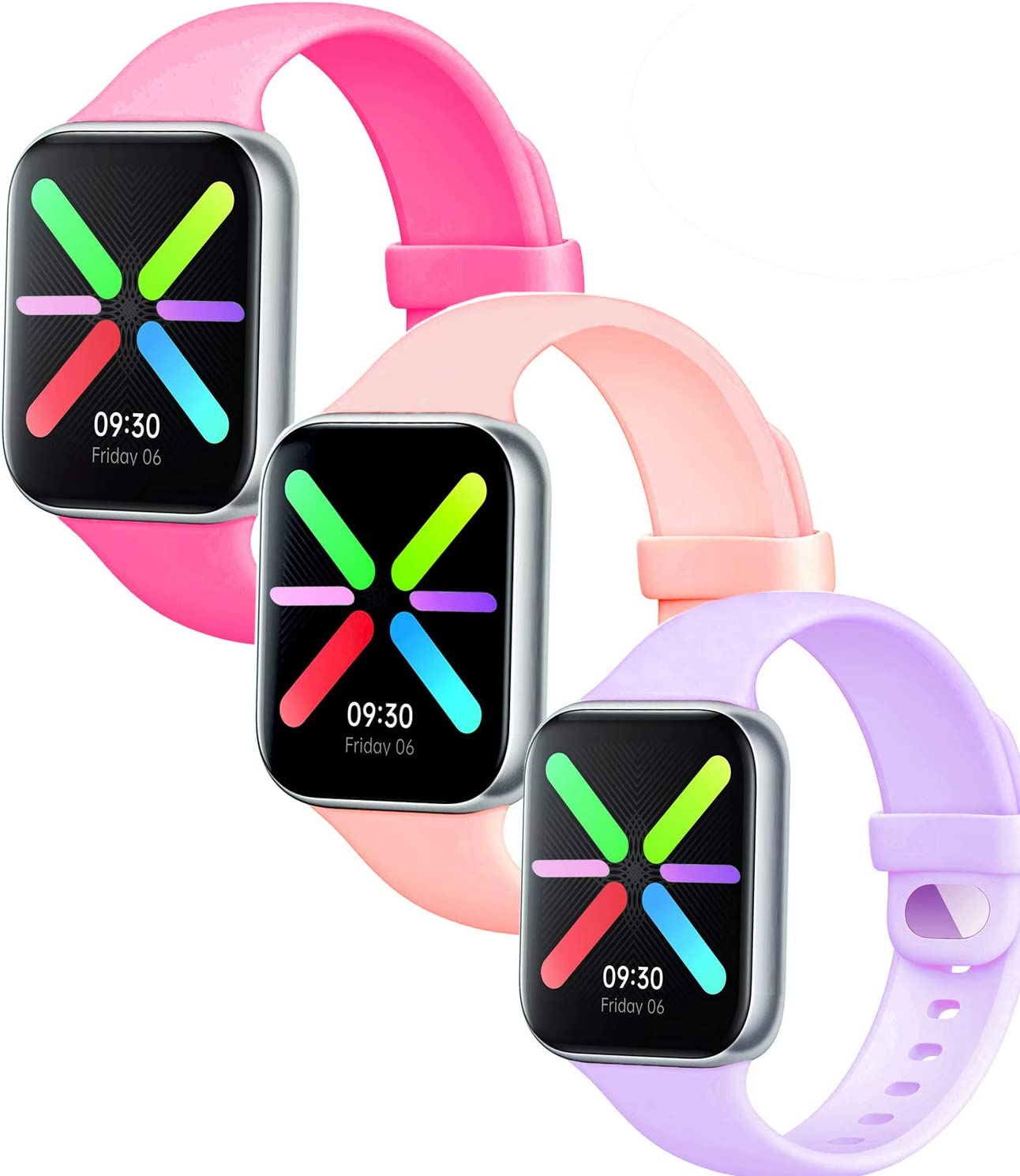 Lesampo 38mm 40mm 42mm 44mm iWatch Sport Bands Compatible with Apple Watch Series 5 4 3 2 1 and Compatible with Nike+ Watch (Grapefruit-Purble-Bobby, (42mm/44mm) S/M)
