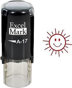 Happy Sun - ExcelMark Round Self-Inking Teacher Stamp - Red Ink