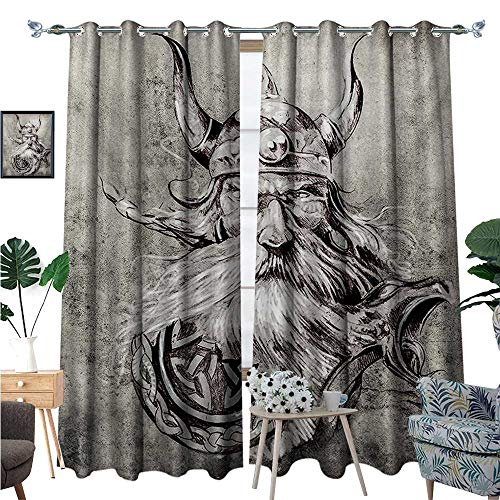 1b279bd9e492 BlountDecor Tattoo Patterned Drape for Glass Door Artistic Pencil Drawing  of a Brave Viking Warrior with Armour Image Adventure Waterproof Window ...