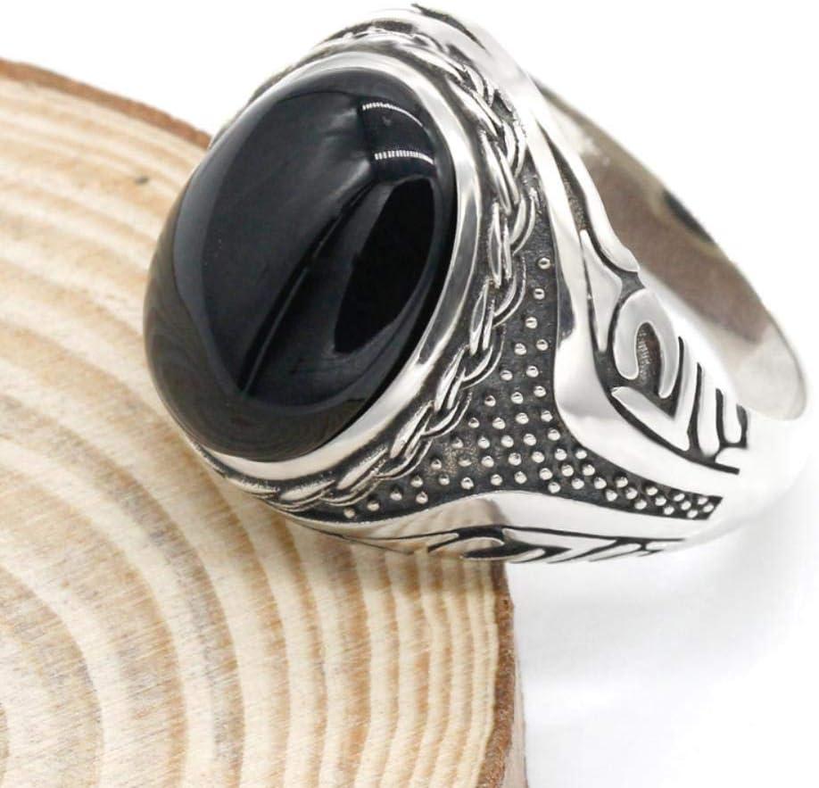 Anillo de plata de ley 925 para hombre, piedra de ónix negro con circonita transparente, anillo punk para hombre, joyería alta, 9