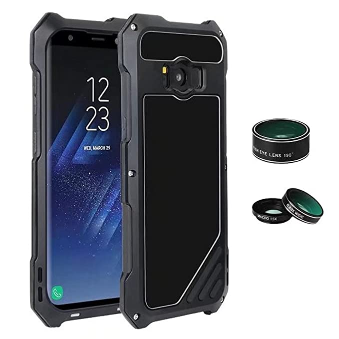 pretty nice 2ac29 e9b6f Galaxy S8 Case,Mangix Luxury Aluminum Alloy Protective Metal Extreme  Shockproof Military Bumper Finger Scanner Cover Shell Case with Camera Lens  for ...