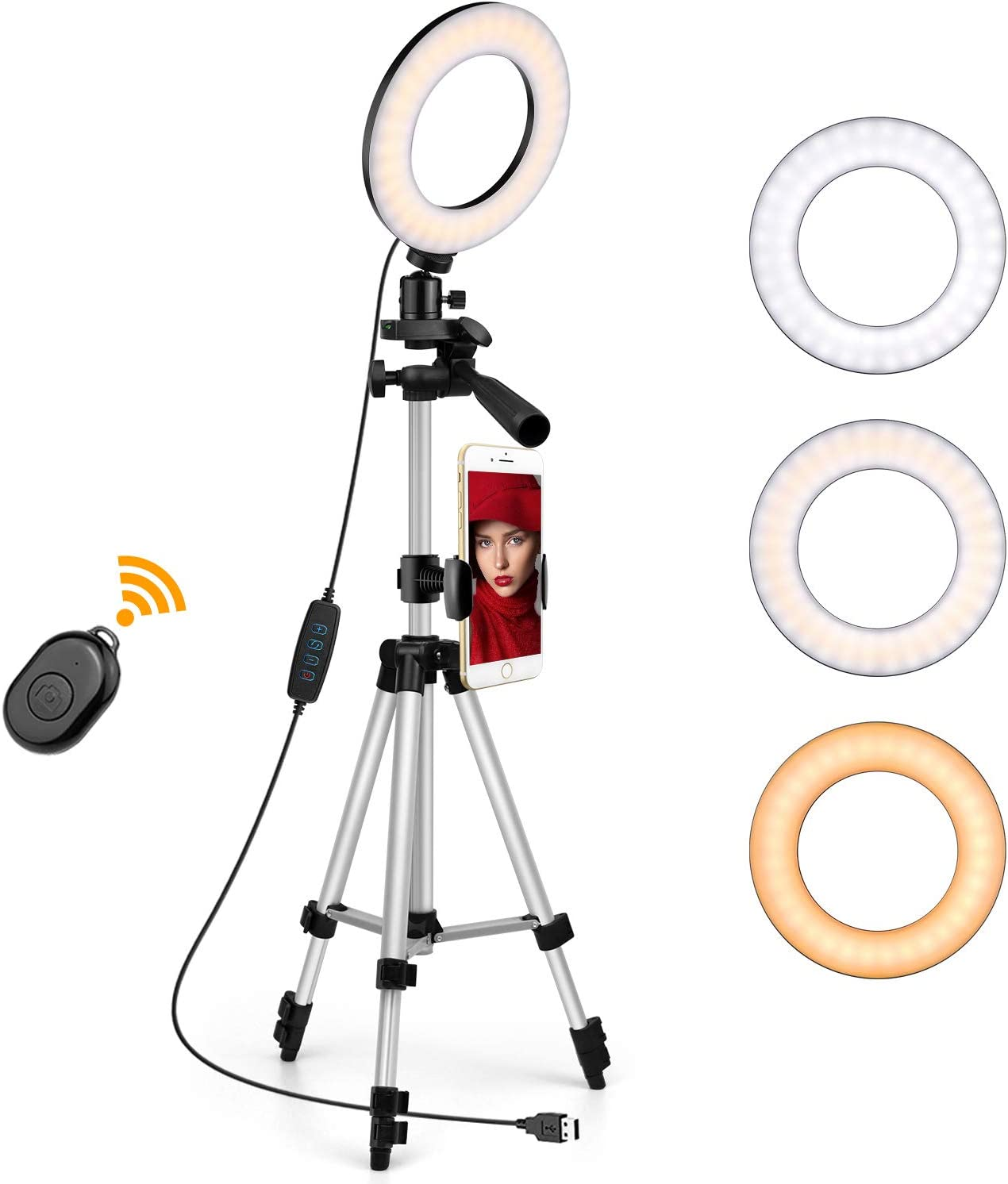 "6"" Ring Light with Tripod Stand Cell Phone Holder for Live Stream/Makeup/YouTube, OldShark Mini Led Selfie Makeup Ring Light, 3 Colors & 10 Brightness Level"