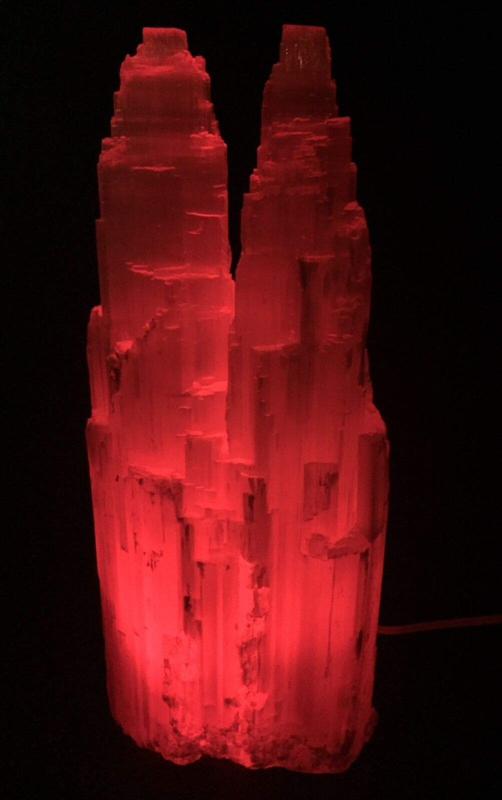 Large Selenite Lamp W/Cord Red LED Bulb Selenite Crystal Tower Two Point Double.Natural Crystals & Rocks for Cabbing, Cutting, Lapidary, Tumbling, Polishing, Wire Wrapping, Wicca