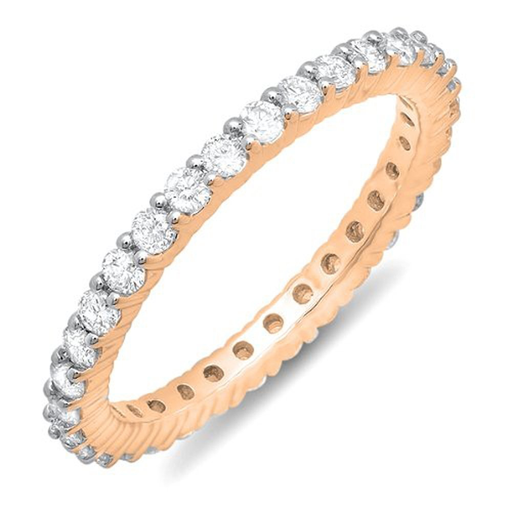 1.00 Carat (ctw) 14k Rose Gold Round Diamond Ladies Eternity Anniversary Stackable Ring Wedding Band 1 CT (Size 9)