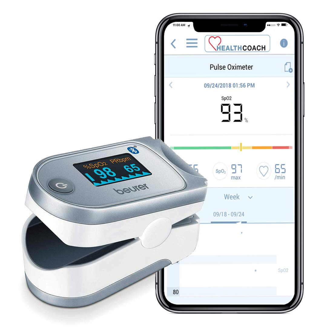 Beurer Bluetooth Digital fingertip Pulse Oximeter, Blood Oxygen Saturation & Pulse Rate Monitor With Accessories, po60 by Beurer