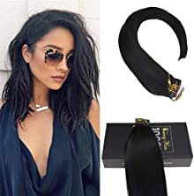 Sunny 20inch Tape In Hair Extensions 50g 20pc/Pack Color #1 Jet Black Full Head Tape In Extensions