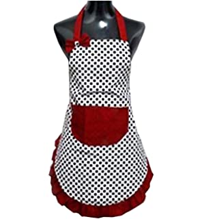 Hyzrz Lovely Lady Dot Flirty Canvas Funny Apron Restaurant Kitchen Aprons  For Women Girls With Pocket Part 62