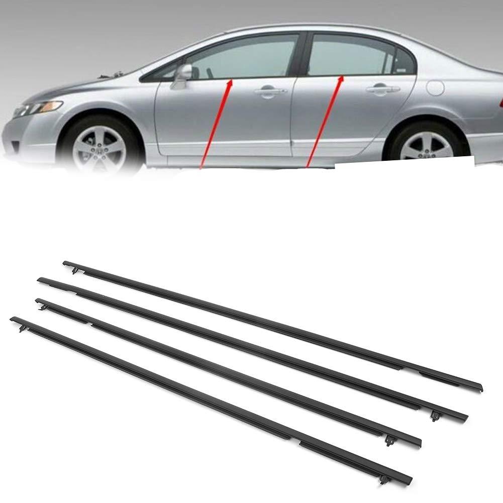 Newsmarts 4pcs Weatherstrip Windows Seal Door Belt Molding Weather-Strip for Honda Civic 2006 2007 2008 2009 2010 2011