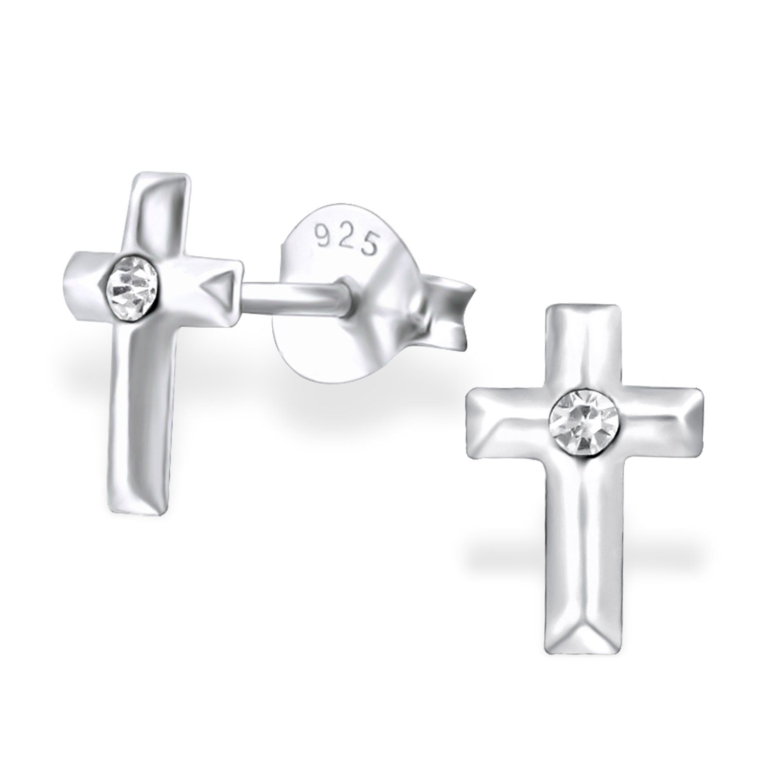 Hypoallergenic Cross Stud Earrings with Crystal for Girls (Nickel Free and Safe for Sensitive Ears) - Crystal