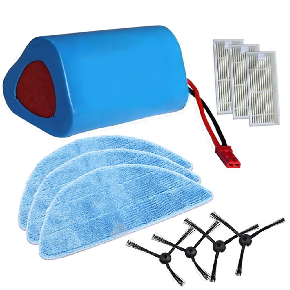 Replacement ILIFE 2800mAh Battery + Robot Vacuum Cleaner HEPA Filter + ILIFE Side Brush + Mop Cloths ilife ilife V3 V3s V5S V5 CW310