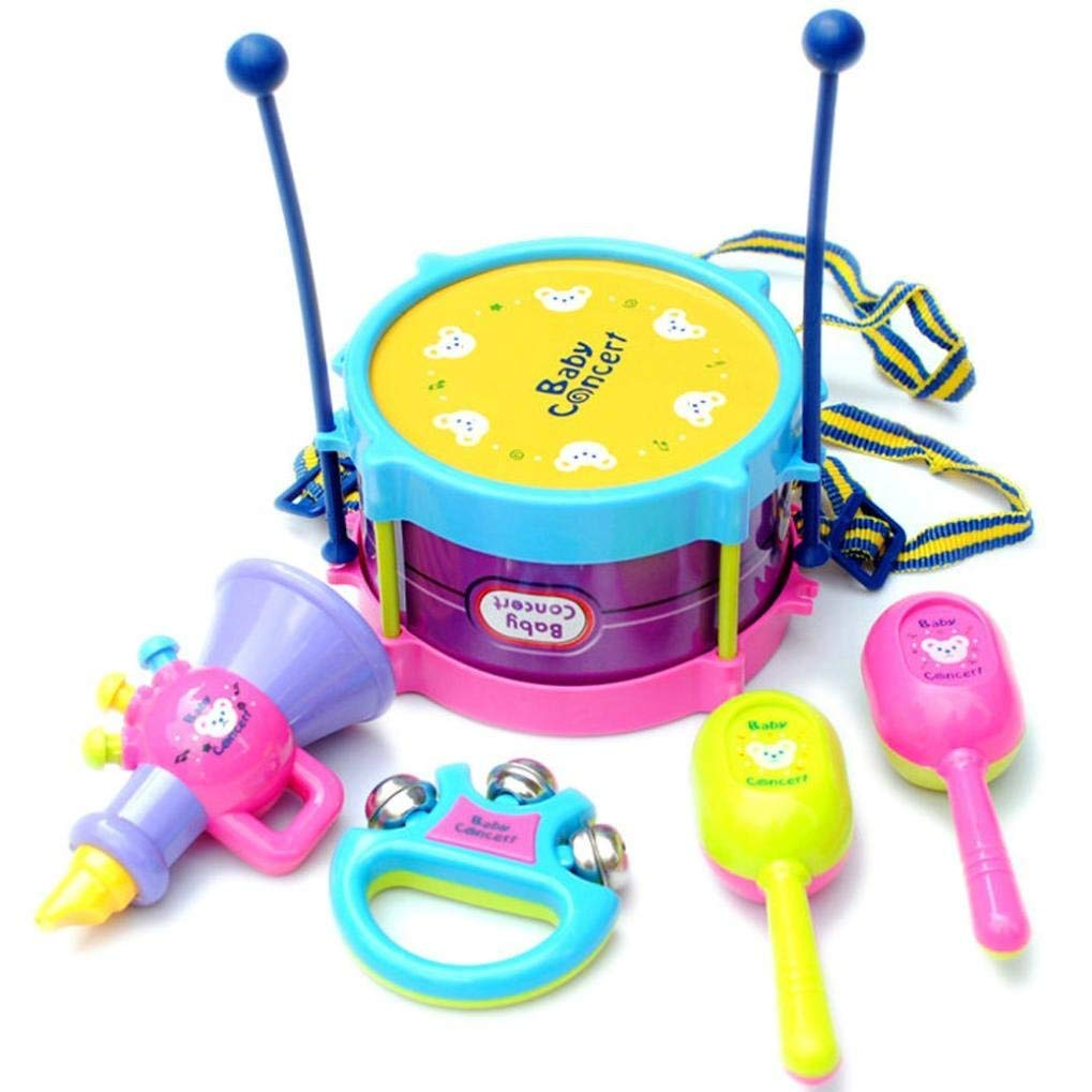 Moonuy Kids Intelligence Toy 5pcs Kids Baby Roll Drum Musical Instruments Band Kit Children Toy Relaxed happy Child Educational Toy Cultivate children's hands-on abilit (A) Wooden