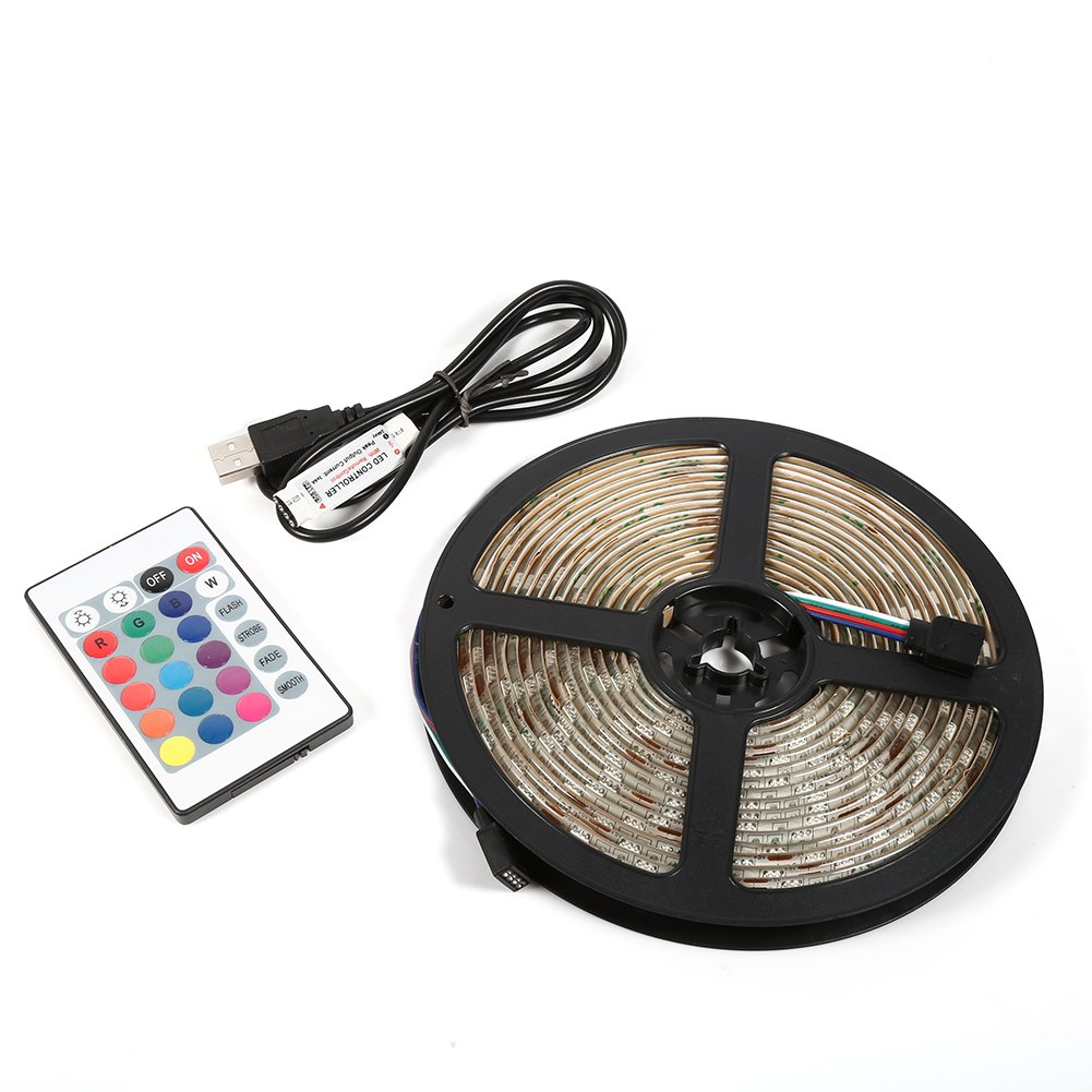 USB Led Strip Light, 5M 5V RGB 5050 Multi-color TV Backlight Decorating Lamp With USB Cable and 24key Remote Control(Non-waterptoof) Zerodis