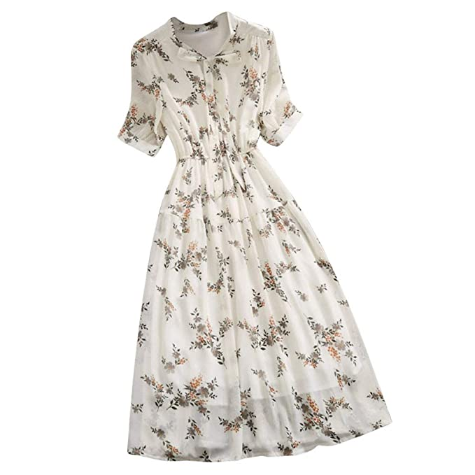 Succper Women Long Dresses Casual Chiffon Plus Size Floral ...