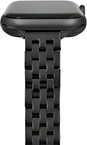 Slim Feminine Watch Bands Compatible with Apple Watch Bands for Women 38mm 40mm, Black Thin Women Bands Compatible with Apple Watch Bands Series 6,5,4,3,2,1 iWatch Bands 38mm 40mm