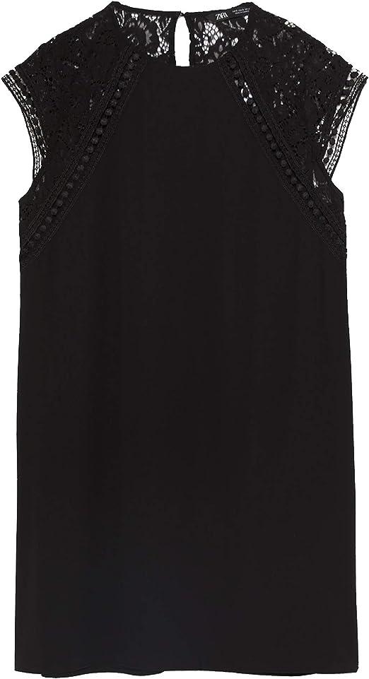 Zara 4387/224 - Vestido Corto para Mujer - Negro - Small ...