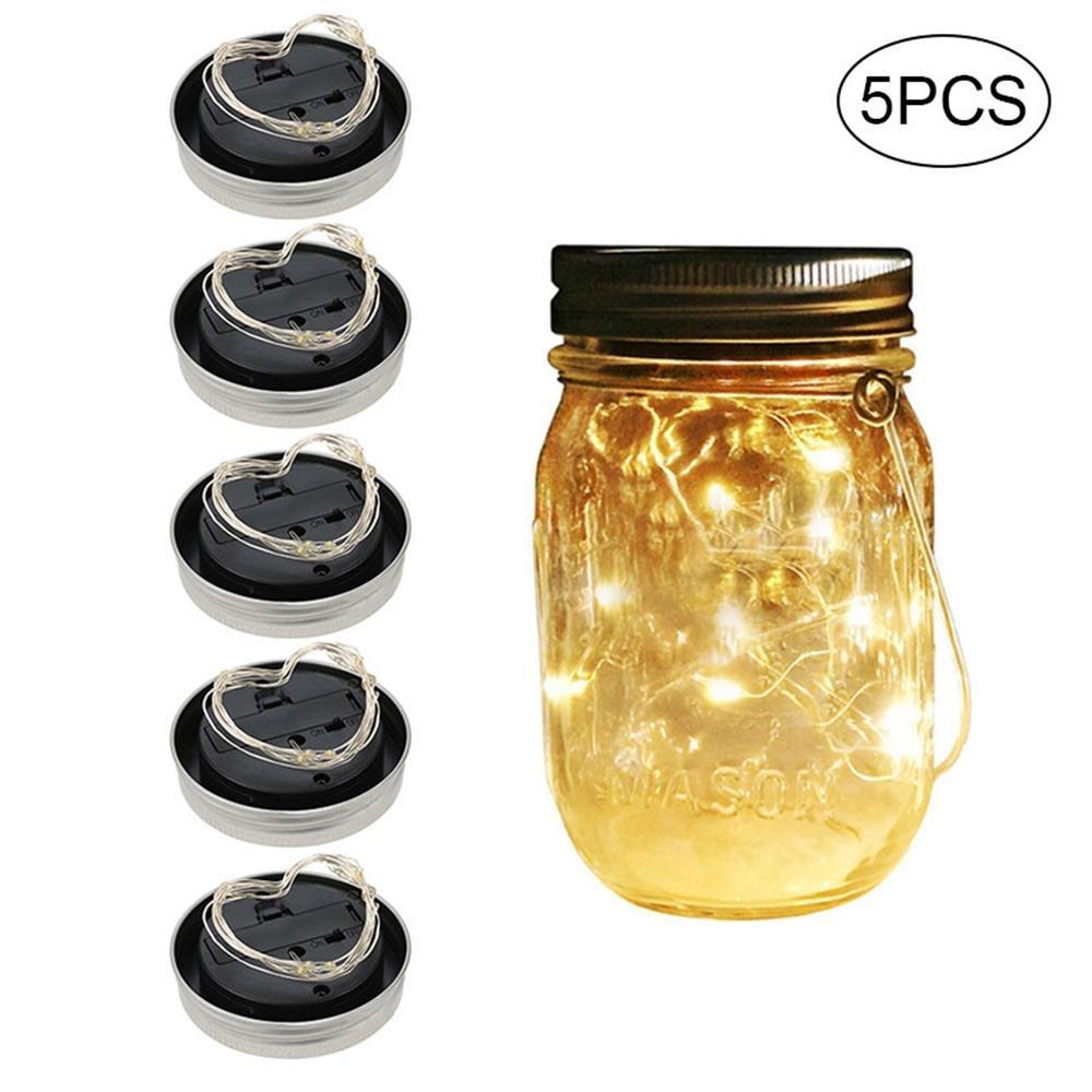 20 Led Mason Jar Solar Lights,Fairy Star Firefly String Lights Home Garden Decor Party/Wedding/Christmas/Decorative 5Pcs/Set (No Jar)