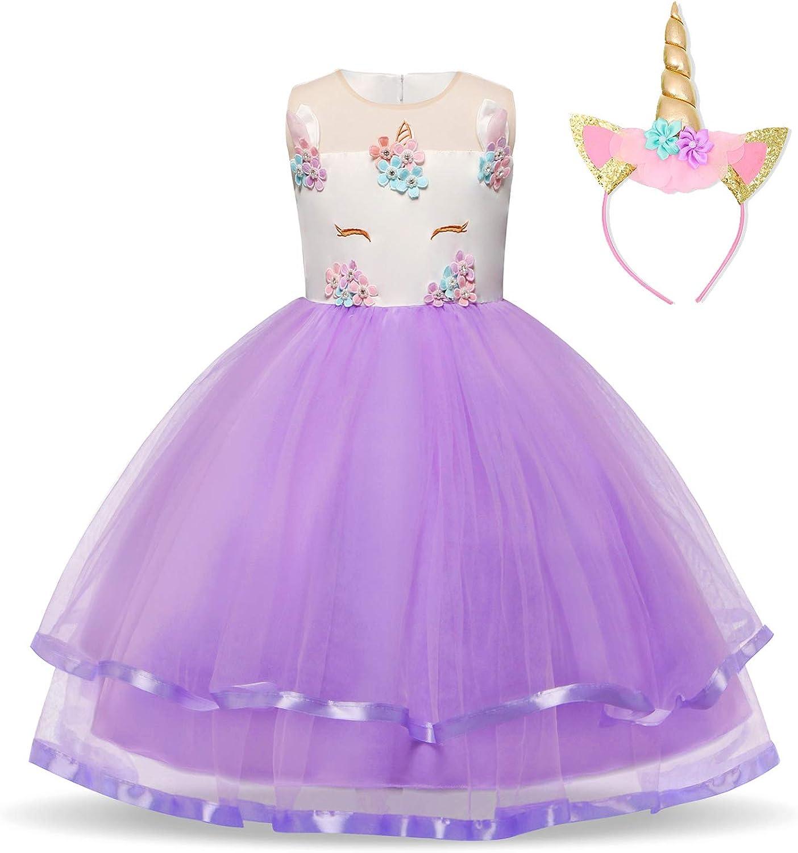 TTYAOVO Ragazze Unicorno Elegante Vestito da Principessa Bambini Fiore Concorso Festa Vestito Senza Maniche Balze Vestiti