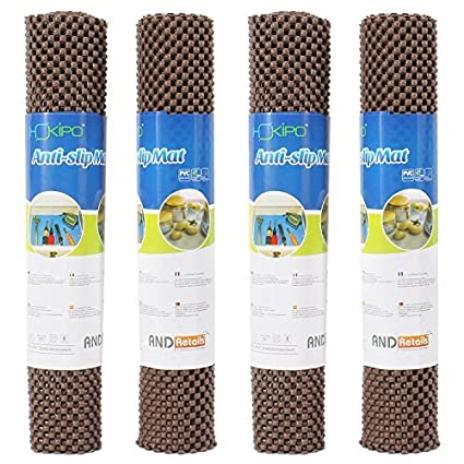 HOKIPO PVC Shelf Liner for Cupboards, Brown(30x100cm)-Pack of 4