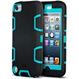 iPod Touch 5th 6th Generation Case, ULAK iPod 5 Case 3in1 Shockproof Combo Hybrid Hard Rigid PC + Soft Silicone Protective Case Cover for Apple iPod Touch 5 6 (Black/Blue)