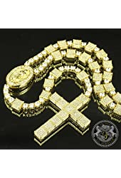 Fully Flooded Stunning Gold Lab Diamond Block Rosary Beads Cross Necklace Hot