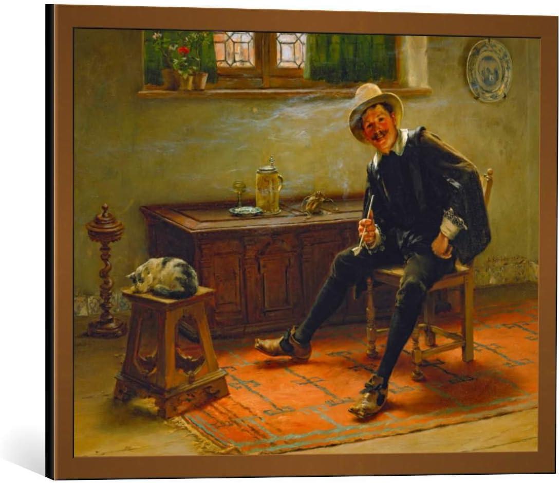 Kunst für Alle Cuadro con Marco: Albert Schröder Junger Pfeifenraucher in altdeutscher Tracht - Impresión artística Decorativa con Marco, 55x40 cm, Cobre Cepillado