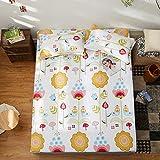 KFZ Fitted Sheet Bedsheet Two Pillowcases for Bedding Duvet Cover Set Comforter Microfiber MJ Twin Full Single Double Bed Rose Mary Flower Design for Kids 3pcs (Dance Garden, Pink, Queen 70''x79'')