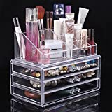 EchoAcc Transparent 3-layer Combination Crystal Make Up / Cosmetic Box Clear Acrylic Organiser 20 Sections with Drawers