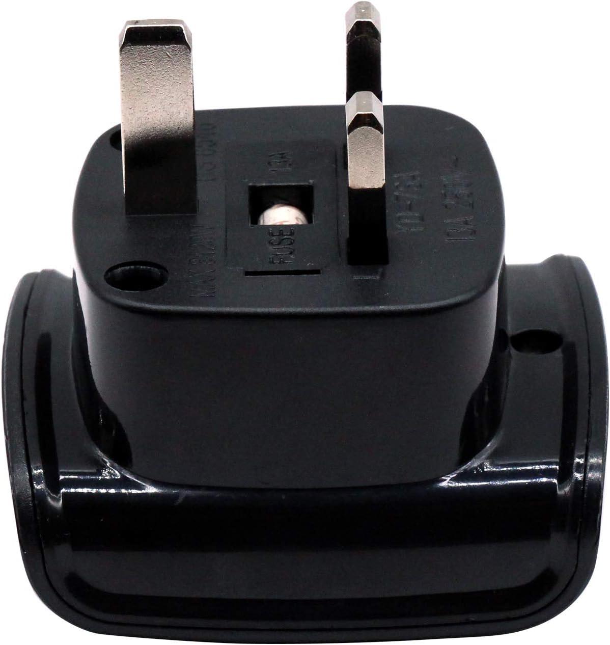 Fusible 13A Avec Obturateur de S/écurit/é Approuv/é BS 8546 3 Pi/èces, Noir Afrique du Sud Adaptateur /à 3 Broches Grand Connecteur M/âle de Type M Converti en Prise Femelle UK /à 3 Broches