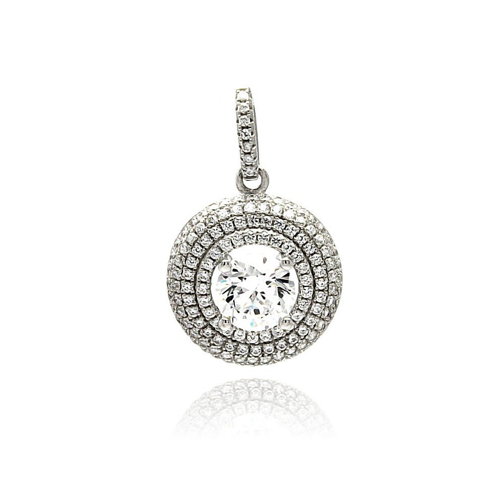 CloseoutWarehouse Clear Micro Pave Cubic Zirconia Triple Lined Circle Pendant Rhodium Plated Sterling Silver