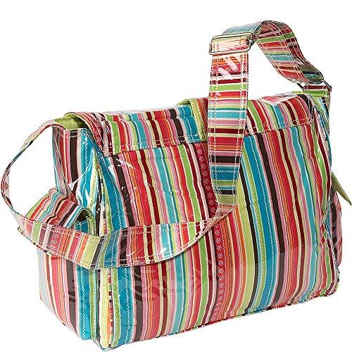 Kalencom Fashion - Bolso cambiador con accesorios, diseño de lunares, color marrón y azul Jazz Stripes Ruby