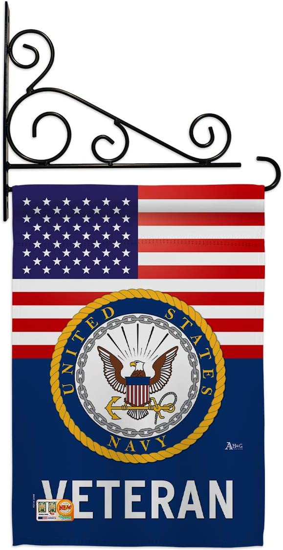 US Navy Veteran Garden Flag - Set Wall Holder Armed Forces USN Seabee United State American Military Retire Official - House Decoration Banner Small Yard Gift Double-Sided Made in USA 13 X 18.5