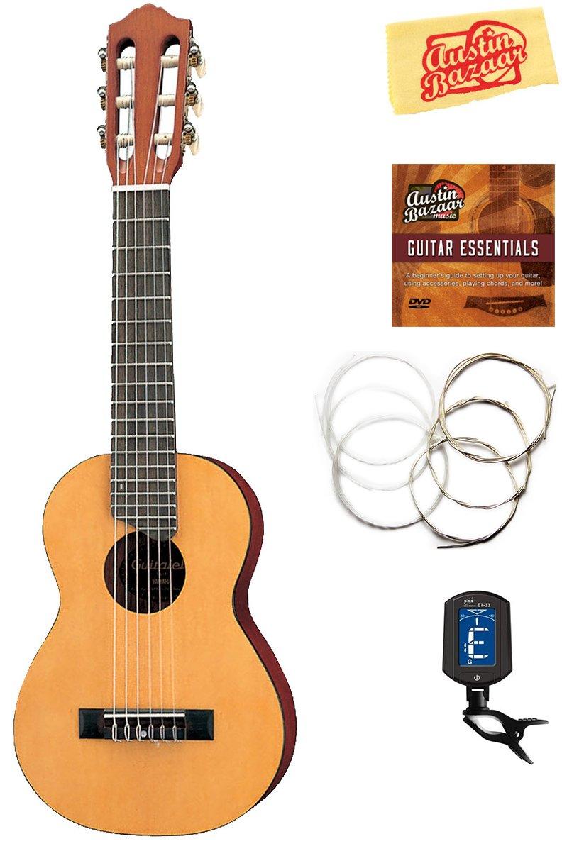 Yamaha GL1 Guitalele Guitar Ukulele - Natural Bundle with Tuner, Strings, Instructional DVD, Polishing Cloth