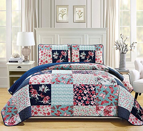 Linen Plus Full/Queen 3pc Quilted Bedspread Set Oversized Coverlet Floral Butterfly Patchwork Navy Blue Teal Coral Pink Burgundy New