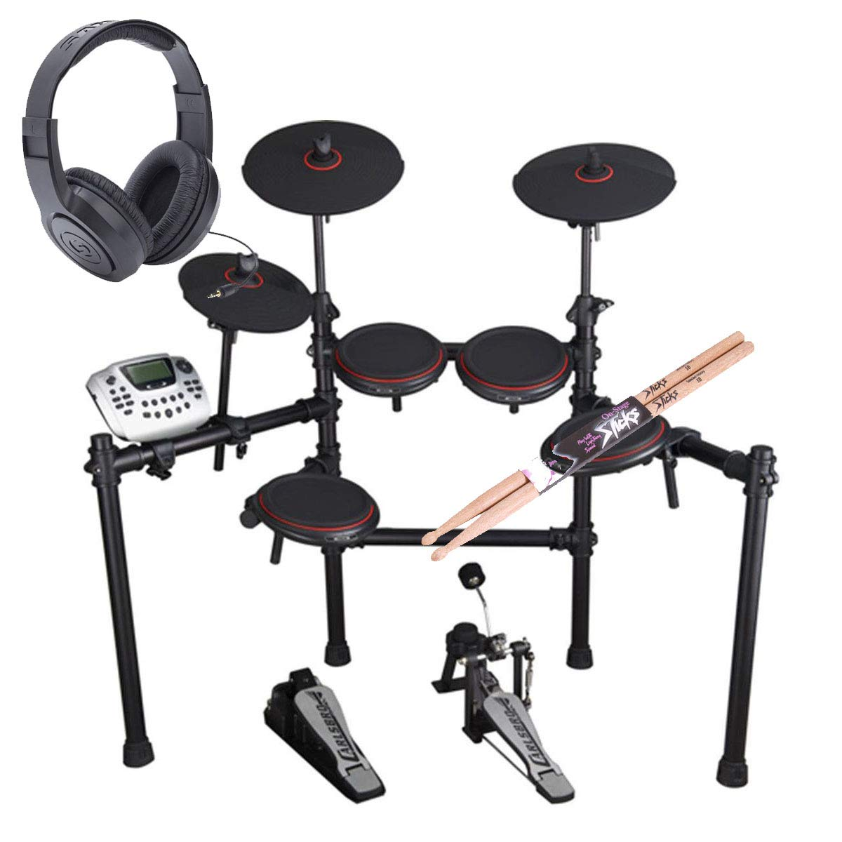 Carlsbro CSD180 8-Piece Enhanced Electronic Drum Kit with Over-Ear Stereo Headphones - Pair of Drumsticks - Top Value Bundle! by Carlsbro