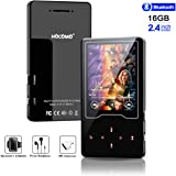 """MP3/MP4 Player, 16GB Bluetooh Music Player 2.4"""" Large Screen Hi-Fi Stereo Sound Music Player with Touch Buttons Support FM Radio, Voice Recorder, Video Play, Text Reading(Wired Headphones Included)"""