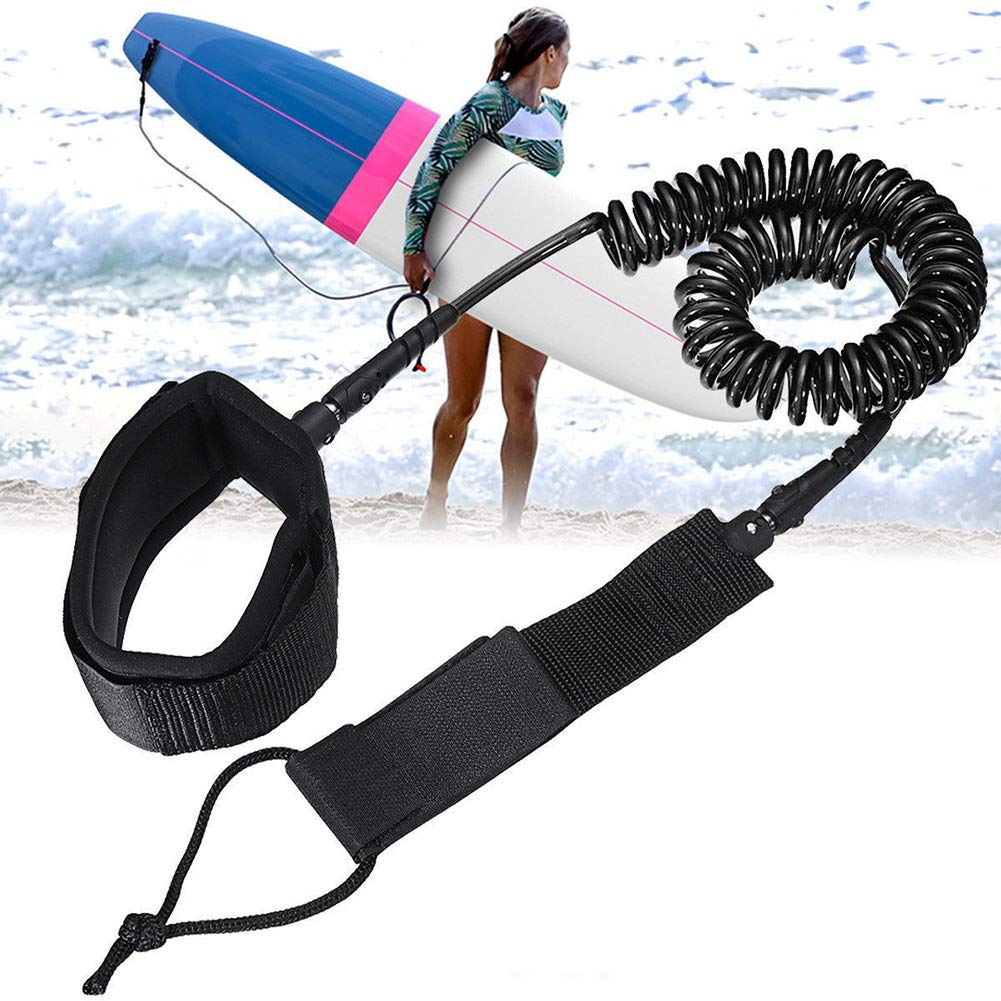 Guoainn Unique Surfboard Leash Surfing String 10ft Rope Tie Foot 7mm Elastic Sports Beach Cord