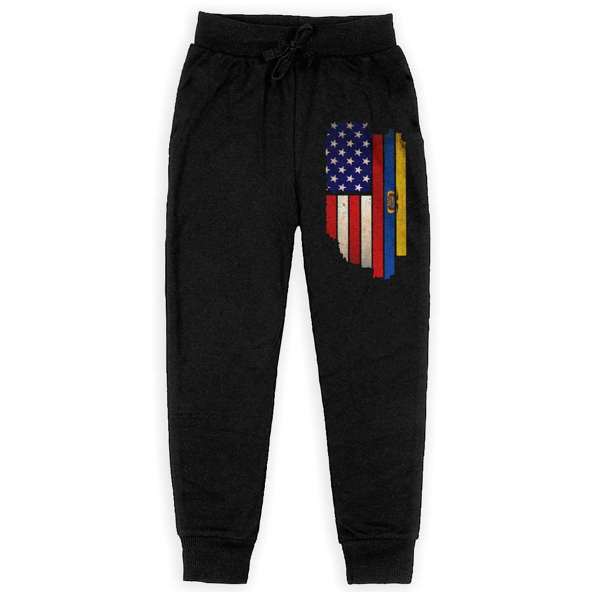 Youth Warm Fleece Active Pants for Teen Girls Vintage USA Ecuador Flag Soft//Cozy Sweatpants