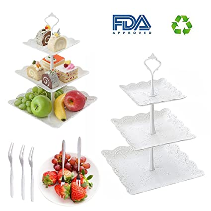 Amazon.com | 3 Tier Fruit Tray Platters Dessert Pastry Cake Stand ...