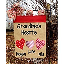 Valentine Day Garden Flag-Grandma's Hearts Flag-Heart Flag-Mimi's Hearts Garden Flag-Happy Valentine's Day-Valentine Decoration-Burlap Flag