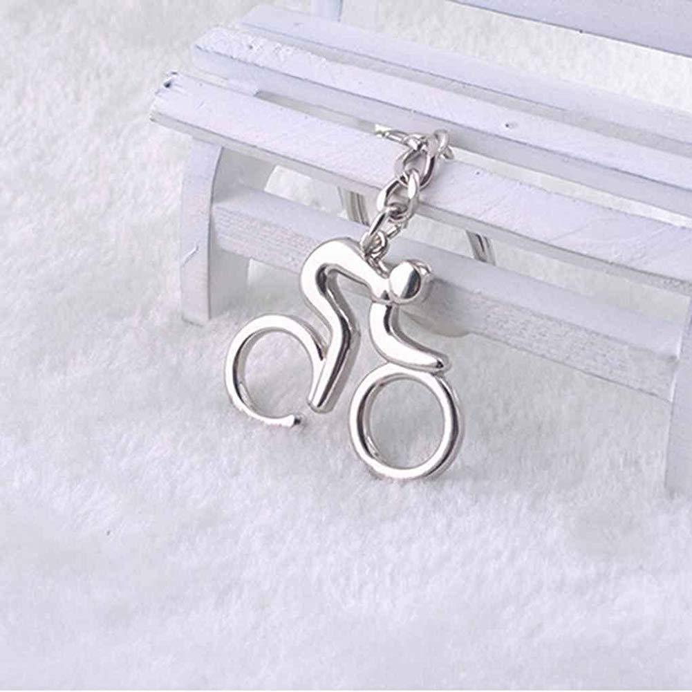 Mode DesignUnique Argent MetalBike v/élo /équitation Keychain Porte Keyfob anneau porte-cl/és