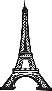 Anderson's Black Eiffel Tower Lifesize Cardboard Standup, Paris Decoration