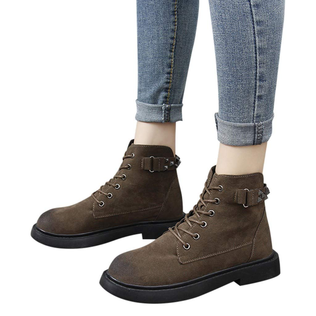 Winter Ladies Thermal Shoe, Women Fashion Metal Rivet Low Thick Heel Ankle Boots Round Toe Casual Shoes 21 19